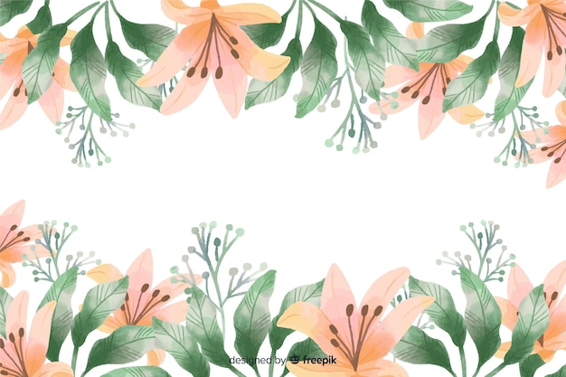 Orange lily flowers frame background with watercolor design
