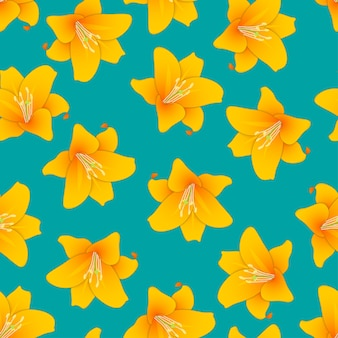 Orange lily on green teal background