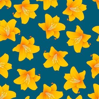 Оранжевая лилия на голубом фоне индиго