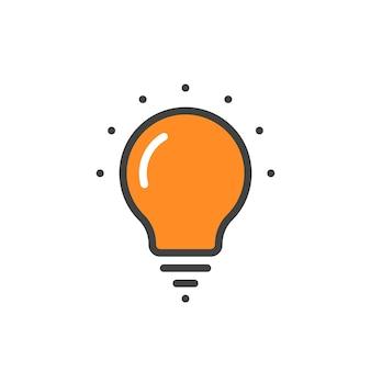 오렌지 선형 전구 아이콘입니다. 에코, 생각, 레이, 천재, 할로겐, 지능, ui, 창의성의 개념. 전구 아이콘 흰색 배경에 고립입니다. 평면 스타일 현대 로고 디자인 벡터 일러스트 레이 션