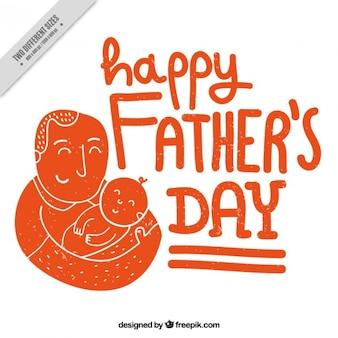 Arancione bella scena del padre con la sua carta di bambino