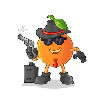 Оранжевая мафия с пистолетом персонаж мультфильма талисман