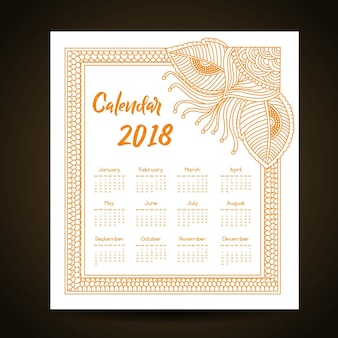 Orange mandala style annual calendar 2018