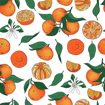 Orange mandarin tangerine with leaves vector pattern