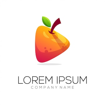 Orange media logo design vector