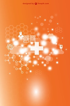 Orange medical background with white crosses