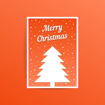 Orange merry christmas card with fir tree. concept of traditional, web header, decorative ornate, event party. isolated on orange background. flat style trend modern postal design vector illustration