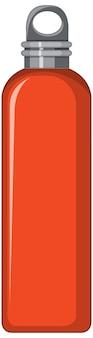 分離されたオレンジ色の金属製の水筒