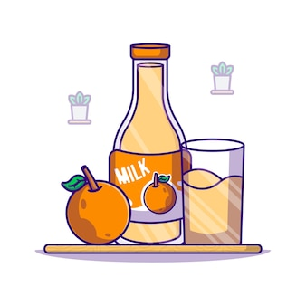 Orange and milk bottle   cartoon illustration. world milk day icon concept white isolated. flat cartoon style