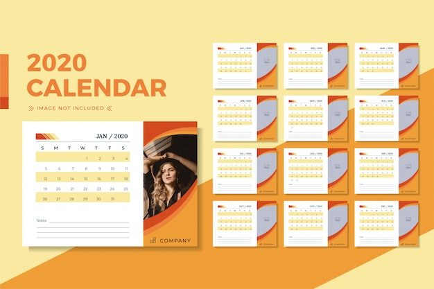 Orange minimalist desk calendar 2020