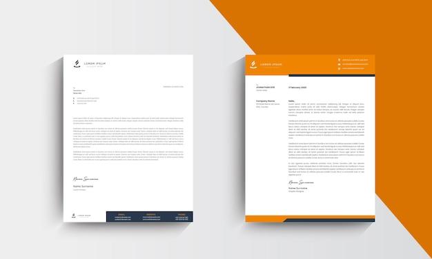 Orange modern business letterhead design template