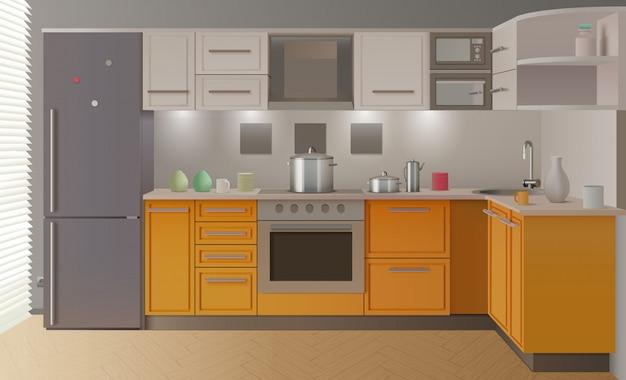 Оранжевый современный интерьер кухни