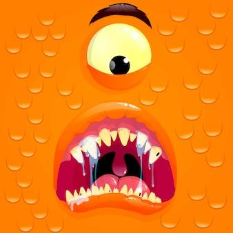 驚きの顔を持つオレンジモンスターアバター