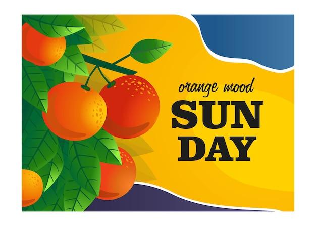 オレンジムードカバーデザイン。果物とオレンジの木の枝は、テキストとイラストをベクトルします。新鮮なバーのポスターやバナーのデザインのための食べ物や飲み物のコンセプト