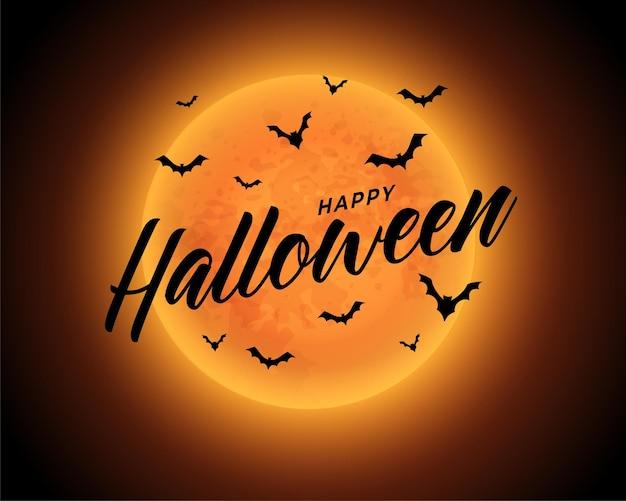 Luna arancione felice sfondo di halloween con pipistrelli volanti
