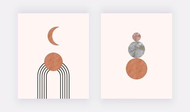 黒のアルコールインクの形をしたオレンジ色の月。自由奔放に生きる壁のアートプリント。