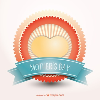 Orange mother's day badge with yellow heart