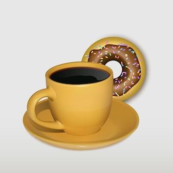 コーヒーとドーナツとオレンジ色のマグカップ白い背景で隔離のリアルなイラスト