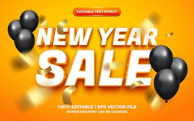 Orange new year sale bold 3d editable text effect