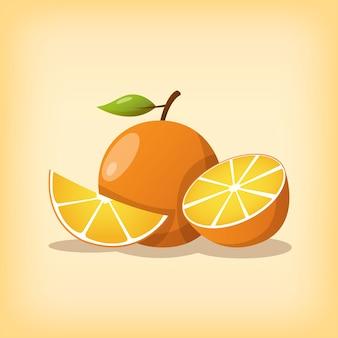 Апельсин или апельсиновый фрукт цельной формы и нарезанный в современном стиле и теплой цветовой тематике.