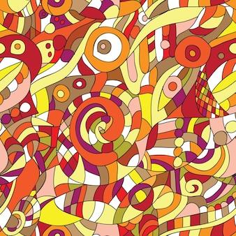 Orange ornament - seamless pattern - dudling style - vector illustration