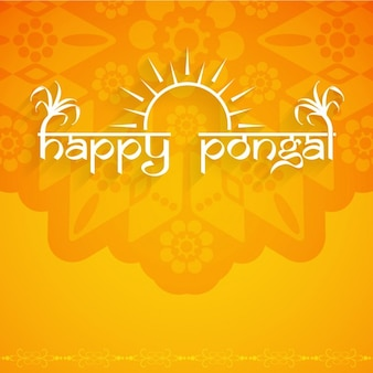 Orange and ornamental pongal background