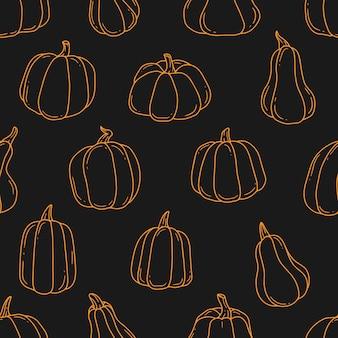 オレンジ色の輪郭のカボチャ漫画落書き黒の背景のシームレスなパターン輪郭図
