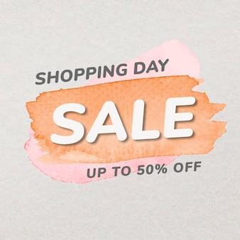 Adesivo distintivo di vendita di vernice arancione, tratto di pennello acquerello, vettore di immagine dello shopping