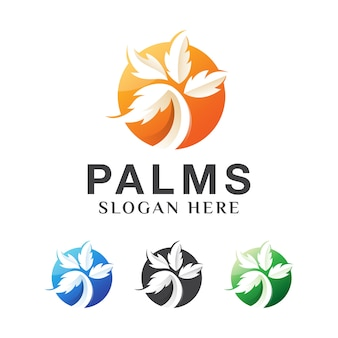 Orange palm tree in beach summer logo design