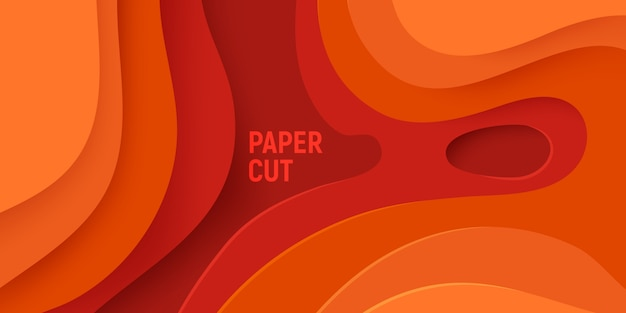 Orange paper cut with 3d slime abstract background and orange waves layers.