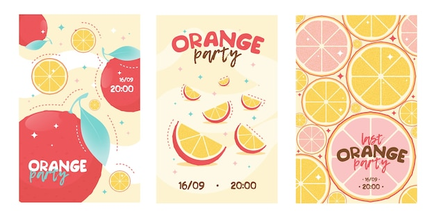 Orange party invitation card. lemonade, fruit