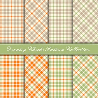 Orange, pastel green and beige country checks pattern collection