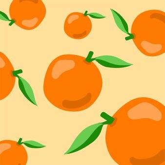 Оранжевый узор фона фрукты векторные иллюстрации