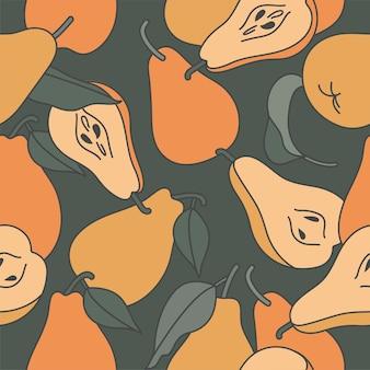 Orange pears drawings seamless patter on dark green background