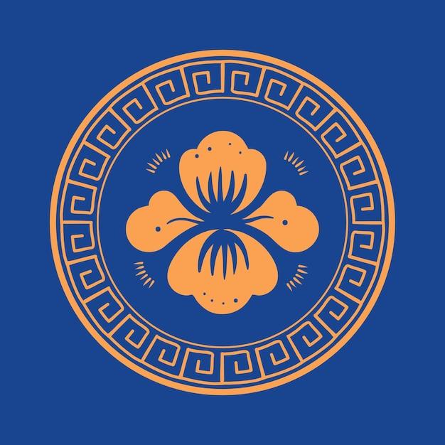 오렌지 모란 꽃 배지 벡터 중국 전통 기호