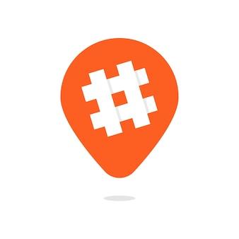 해시 태그 아이콘이 있는 주황색 핀. 숫자 기호의 개념, 소셜 미디어 인기 앱, 마이크로 블로깅, 홍보 인기. 흰색 배경에 고립. 플랫 스타일 트렌드 현대 로고 타입 디자인 벡터 일러스트 레이션