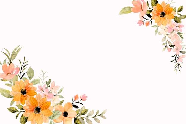 Orange pink flower frame background with watercolor