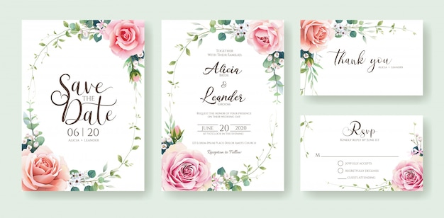 Orange and pink rose flower wedding invitation card design template.