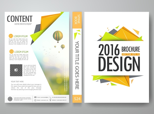 Orange polygon shape in flyers design template