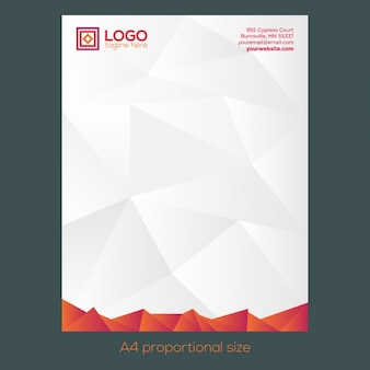 Orange polygonal letterhead