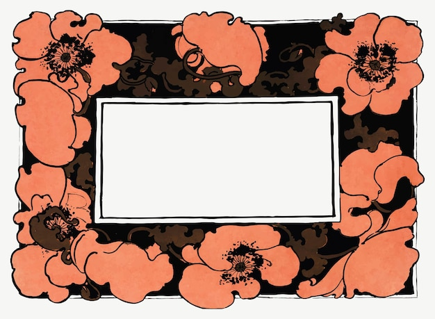 オレンジ色のポピーの花のフレームのベクトルアールヌーボースタイル、エセルリードのアートワークからリミックス