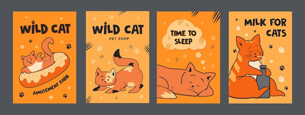 Orange posters set with cute cats. colorful brochures for pet shop with kitties.