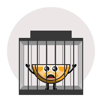 オレンジ色の刑務所かわいいキャラクターのロゴ