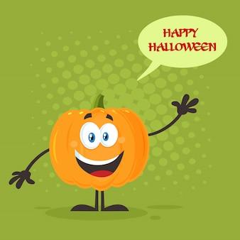 Orange pumpkin cartoon emoji character waving for greeting