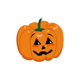 Orange pumpkin icon with face eyes