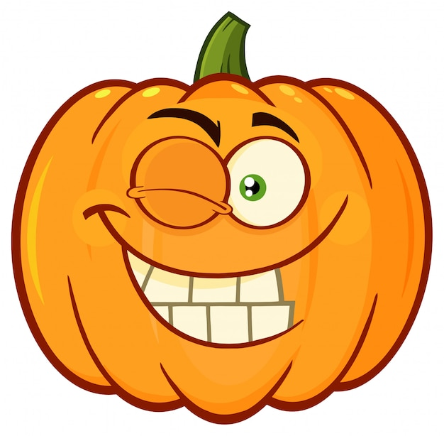 Orange pumpkin vegetables cartoon emoji face character