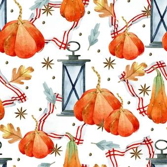 냅킨 수채화 원활한 패턴에 랜 턴과 오렌지 호박