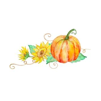 해바라기와 오렌지 호박
