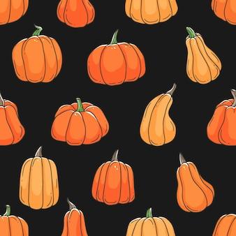 オレンジ色のカボチャ漫画落書き黒の背景のシームレスなパターン輪郭かわいいイラスト