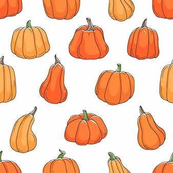 オレンジ色のカボチャ漫画落書きシームレスパターン輪郭かわいいベクトルイラスト背景